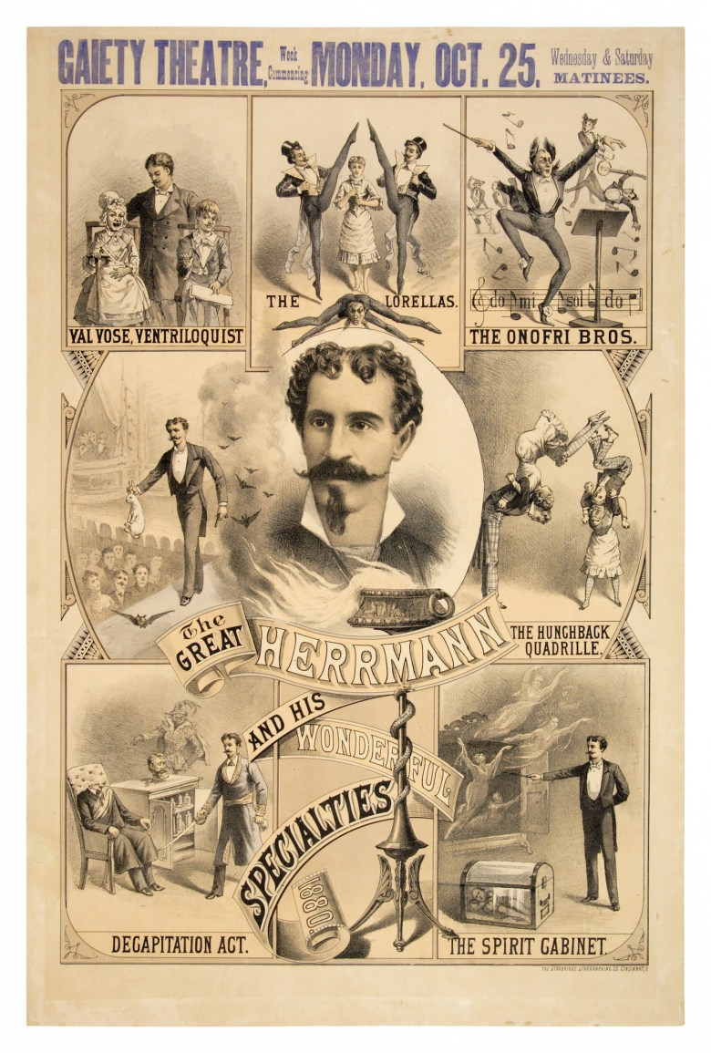 """""""The Great Herrmann and His Wonderful Specialties"""" (Strobridge Lithographing Co., 1880) (© McCord Museum)"""