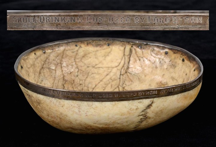 """Skull drinking cup inscribed: """"SKULL DRINKING CUP USED BY LORD BYRON AT NEWSTEAD ABBEY"""" (courtesy Charterhouse Auctioneers and Valuers)"""