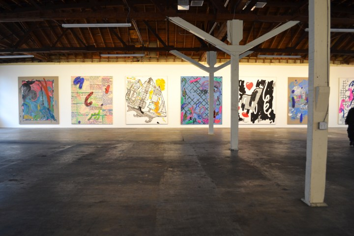 The inaugural exhibition at 356 Mission, featuring large-scale paintings by Laura Owens (via Wikimedia Commons)