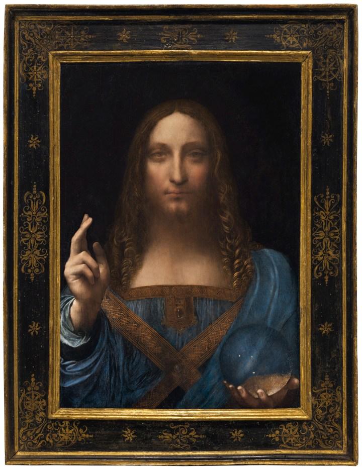 "Leonardo da Vinci, ""Salvator Mundi"" (ca 1500), oil on panel, 25 7/8 x 18 in (image courtesy Christie's)"