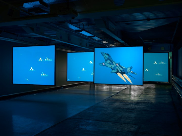 "Cory Arcangel, ""MIG 29 Soviet Fighter Plane and Clouds"" (2005) (photo by Jack Hems, © Cory Arcangel, courtesy Lisson Gallery)"