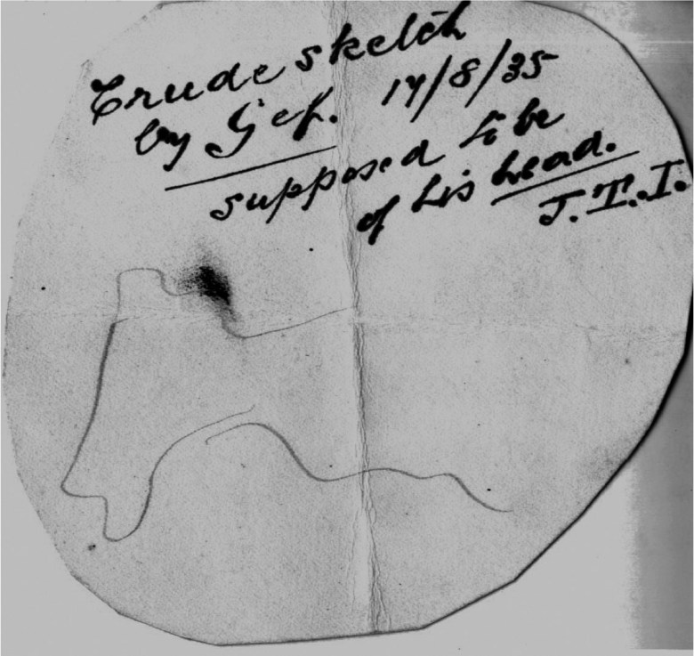 """""""This admittedly crude sketch, allegedly Gef's attempt at a self-portrait, supposedly demonstrated his ability to grasp a pencil,"""" from <em srcset="""