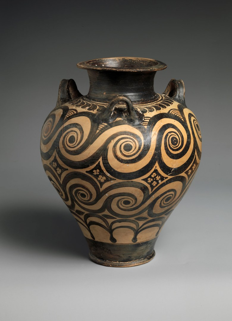 Jar with Three Handles (Late Minoan I Period, 1600–1500 BCE), terracotta, Knossos (?) (courtesy the Metropolitan Museum of Art, New York, Rogers Fund)