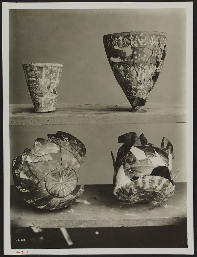 Staged Photograph of Middle Minoan Pottery from the Old Palace (early 20th century), gelatin silver print, Knossos (courtesy Ashmolean Museum, University of Oxford, image © Ashmolean Museum, University of Oxford)