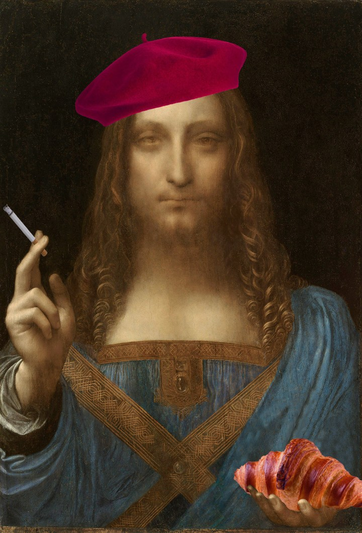 """Leonardo da Vinci's """"Salvator Mundi"""" as a French stereotype (illustration by the author for Hyperallergic)"""