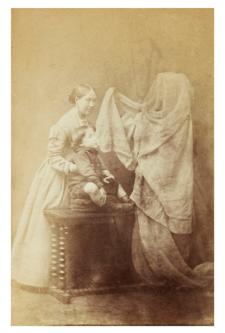 """Frederick Hudson, """"Georgiana Houghton, Tommy Guppy and a Spirit"""" (1872), albumen silver print (courtesy the College of Psychic Studies, London)"""