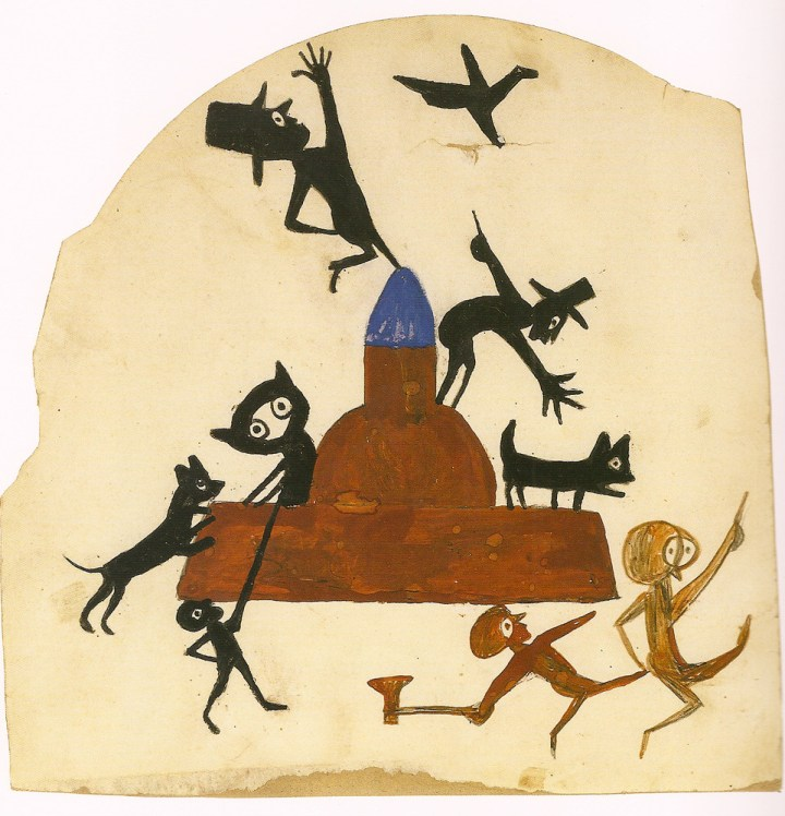 """Bill Traylor, """"Construction with Exciting Event,"""" poster paint and pencil on die-cut cardboard, 12 x 12 inches (Louis-Dreyfus Family Collection, photo courtesy Ricco/Maresca Gallery)"""