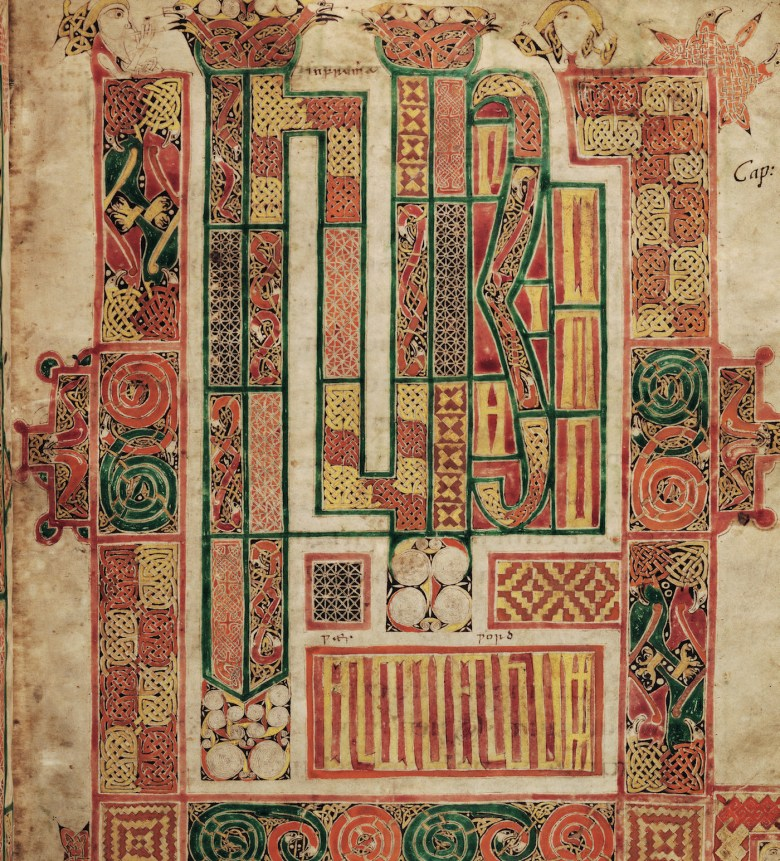 "Macregol Gospel: ""In the beginning was the word"" (late-8th-century or early-9th-century), Latin Gospel, painted in Ireland byMacregol, perhaps abbot of Birr, County Offaly (d. 822), and glossed in the 10th century in English by two scribes. English translations were added to the original Latin text by medieval scholars (MS. Auct. D. 2. 19, fol. 127r., courtesy Bodleian Libraries, University of Oxford)"