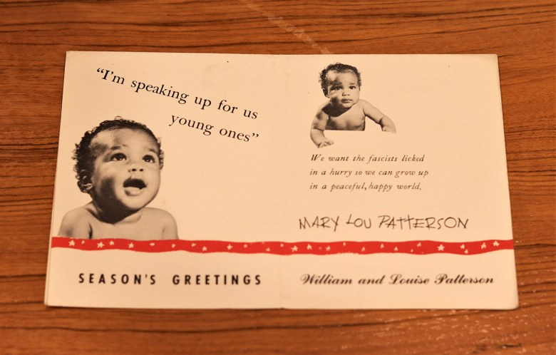 Card sent to Langston Hughes from William and Louise Patterson (courtesy Beinecke Rare Book and Manuscript Library, Yale University)