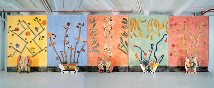 "Betty Woodman, ""Ceramic Pictures of Korean Paintings"" (2001/02), glazed earthenware, clay, canvas 37 1/2 x 10 x 1 feet (courtesy Salon 94)"