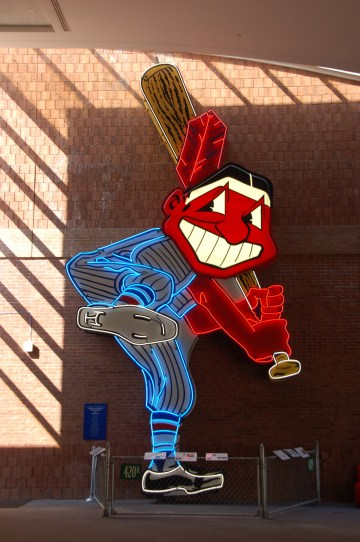 The 28-foot-high Chief Wahoo logo from the Cleveland Indians' former home, Municipal Stadium, on permanent display at Western Reserve Historical Society (photo by Ralf Peter Reimann/Flickr)