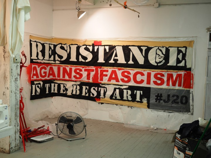 Occupy Museums banner for J20 2017