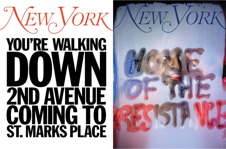"""""""My New York Artist Covers: John Giorno"""" (left) and """"My New York Artist Covers: Marilyn Minter"""" (right) (all images courtesy the artists and New York Media)"""
