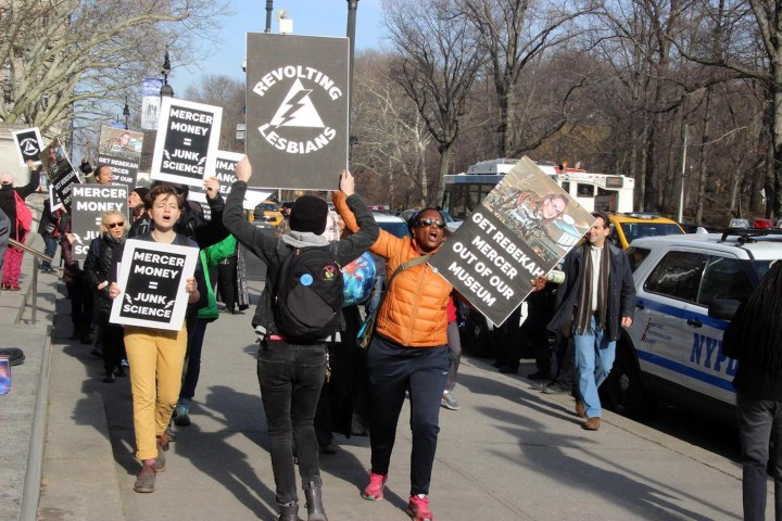 A protest against Rebekah Mercer's position on the American Museum of Natural History's board of trustees organized by Revolting Lesbians on January 21. (photo by and courtesy Saskia Scheffer)