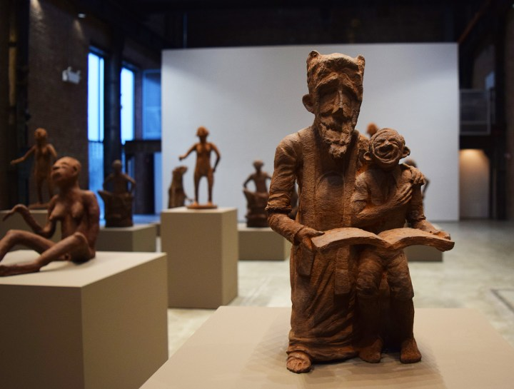 """Cedrick Tamasala, """"How My Grandfather Survived"""" (2015), chocolate, from the exhibition <em srcset="""