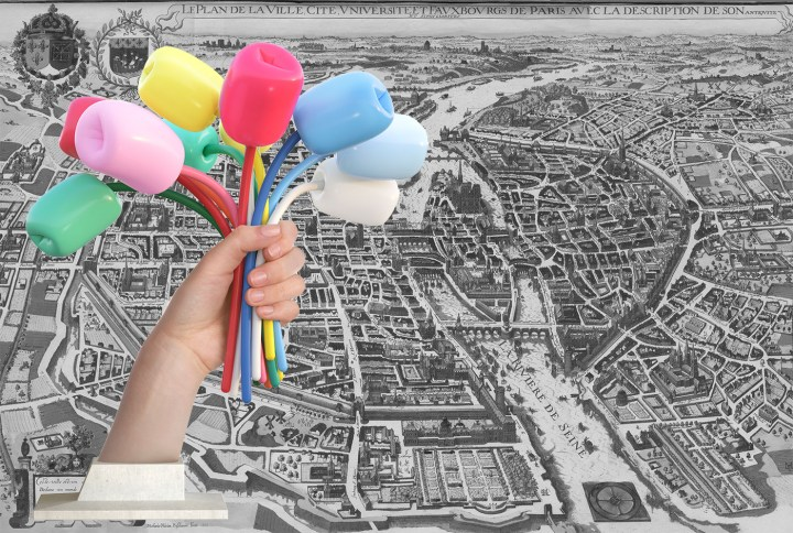 """Where in Paris will Jeff Koons's """"Bouquet of Tulips"""" (2016) end up? (illustration by the author, historical map of Paris via oldmapsofparis.com)"""