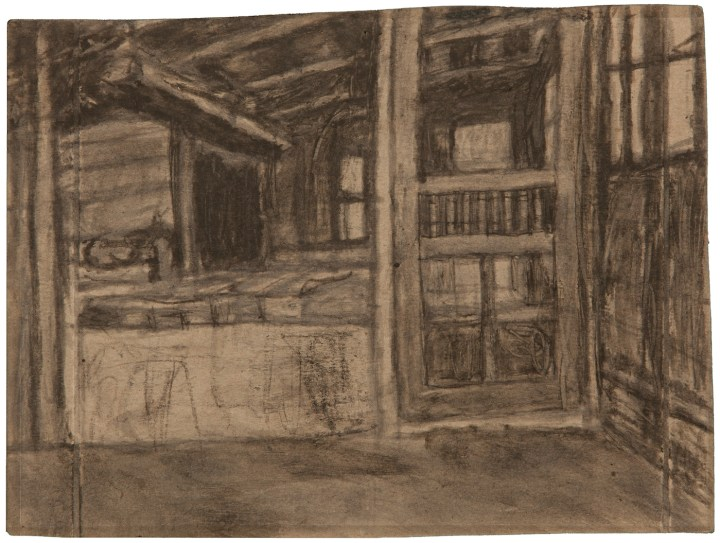 "James Charles Castle, ""Untitled (empty shed/shed interior)"" (nd), found paper, soot, 7 5/16 x 9 11/16 in (collection of The William Louis-Dreyfus Foundation Inc.; © 2001 James Castle Collection and Archive LP)"