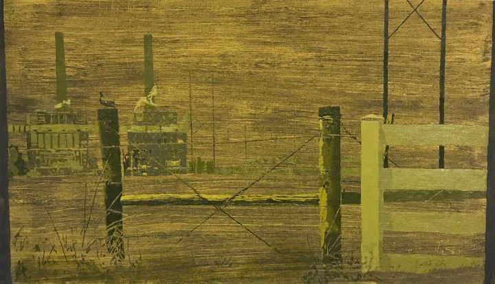 "Greg Lindquist, ""WA Parish Generating Station, Thompsons, Texas"" (2017), oil, ash, and acrylic on linen, 23 1/4 x 40 1/2 in"