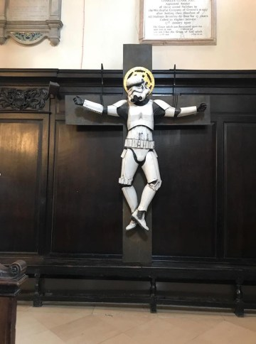 """""""Stormtrooper Crucifixion"""" by Ryan Callanan before its removal from a central London church"""