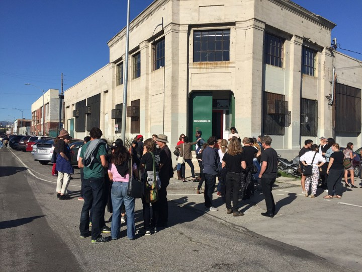 Boyle Heights Alliance Against Artwashing and Displacement protesters rallied outside the Artists' Political Action Network meeting at 356 Mission in February 2017. (photo courtesy Boyle Heights Alliance Against Artwashing and Displacement)