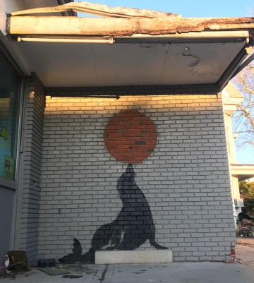 Banksy's seal mural at 1249 Coney Island Avenue in Midwood a few days before it was confirmed as a genuine Banksy