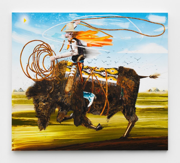 "Barnaby Furnas, ""The Wrangler"" (2018), dispersed pigments, acrylic, colored pencil, pencil on linen, 64 1/2 x 73 in (courtesy of the artist and Marianne Boesky Gallery, New York and Aspen; © Barnaby Furnas; photo by Object Studies)"
