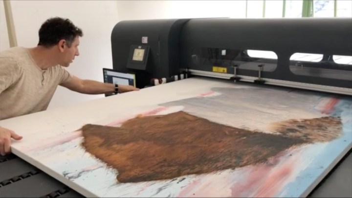 One of Furnas's paintings being worked on in Artmatr's lab (photo by John Romano, courtesy ArtMatr)