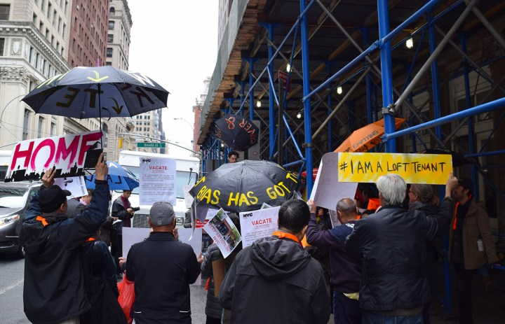 Loft tenants protesting outside the offices of the New York City Department of Buildings at 280 Broadway