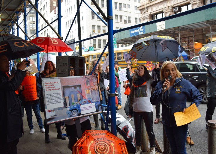 New York State Assemblywoman Maritza Davila speaking at a loft tenant rally outside the offices of the New York City Department of Buildings at 280 Broadway