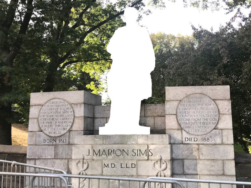 The statue of J. Marion Sims has been removed from Central Park (illustration by the author for Hyperallergic)