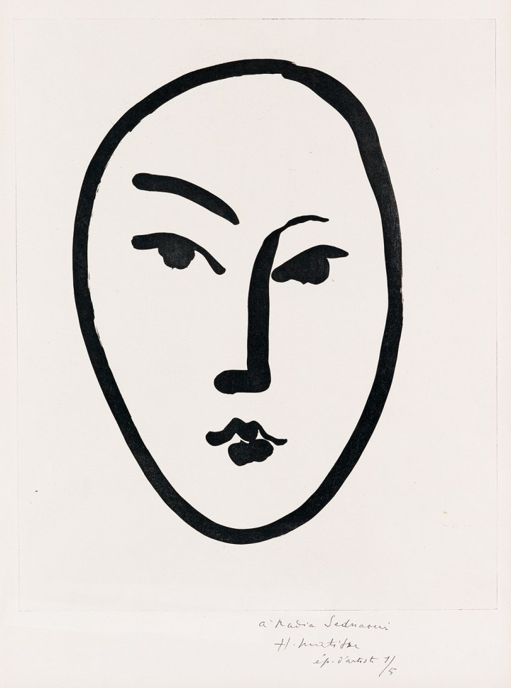 "Henri Matisse, ""Grand Masque"" (1948), aquatint, 17 x 13 5/8 in (courtesy Swann Auction Galleries)"