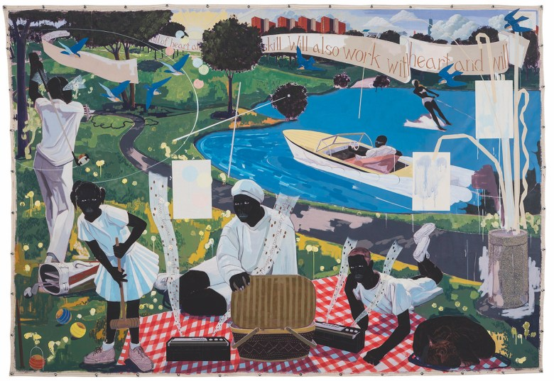 "Kerry James Marshall, ""Past Times"" (1997), acrylic and collage on canvas (courtesy Sotheby's)"