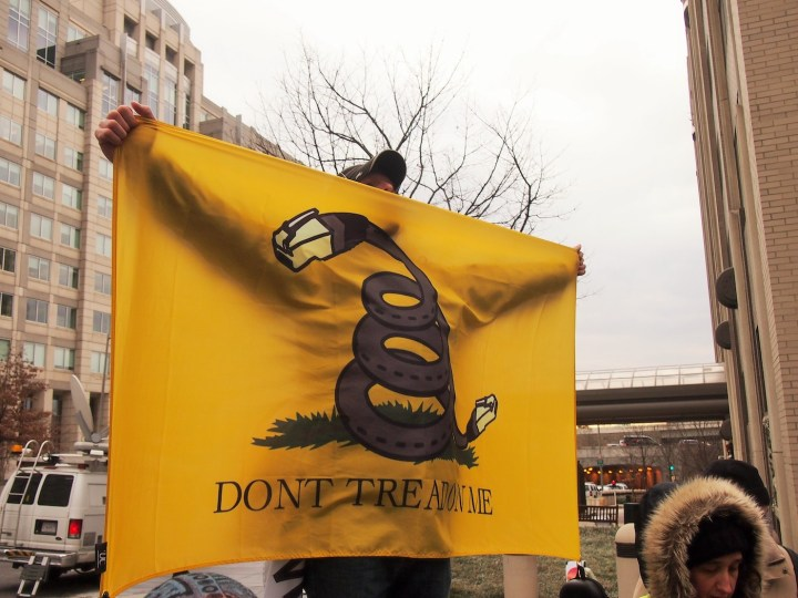 A net neutrality rally in Washington, DC in December 2017 (photo by Slowking4, via Wikimedia Commons)