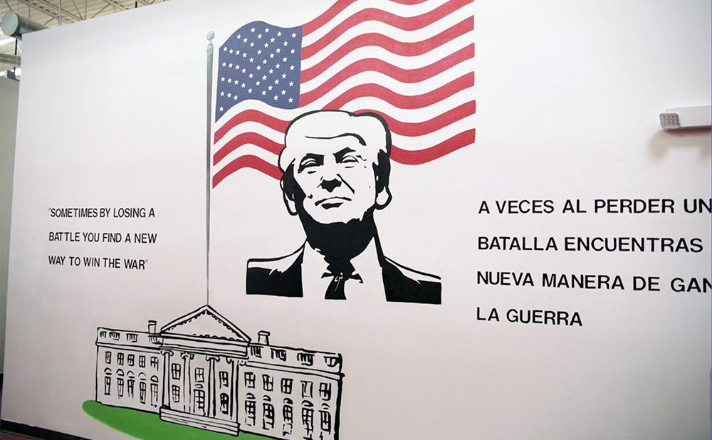 The Little President with a Big Mural in a Childrens