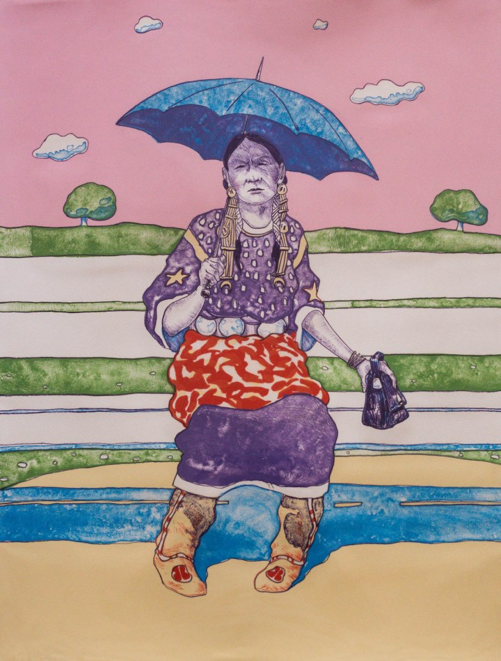 """T. C. Cannon, """"Waiting for the Bus (Anadarko Princess)"""" (1977), lithograph, Anne Aberbach + Family, Paradise Valley, Arizona (© 2017 Estate of T.C. Cannon; photo by Thosh Collins)"""