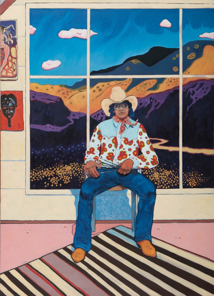 """T. C. Cannon, """"Self-Portrait in the Studio"""" (1975), oil on canvas, collection of Richard and Nancy Bloch (© 2017 Estate of T.C. Cannon; photo by Addison Doty)"""