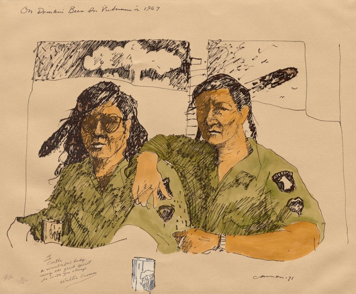 """T.C. Cannon, """"On Drinkin' Beer in Vietnam in 1967"""" (after 1978), lithograph, private collection (© 2017 Estate of T.C. Cannon; photo by Allison White)"""