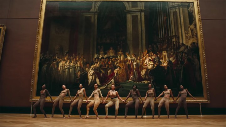 "Beyoncé and her dancers in front of Jacques-Louis David's ""Coronation of Napoleon"""
