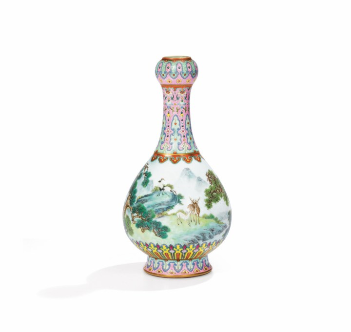 "The ""Yangcai Crane-and-Deer Ruyi Vase"" (18th century) sold at Soteby's Paris on June 12 for €16,182,800 (~$18.8 million) (image courtesy Sotheby's / Art Digital Studio)"