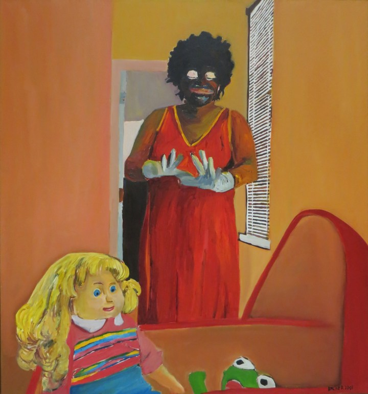 "Beverly McIver, ""Oh, Happy Day"" (2001), oil on canvas, 52 x 48 in, Weatherspoon Art Museum, gift of Douglas and Nicole Walla, 2017 (image courtesy the Weatherspoon Art Museum)"