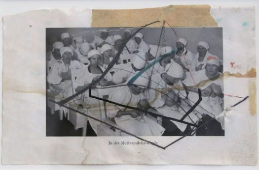 """Martin Kippenberger, """"In der Muttermilchzentrale"""" (1985), watercolor, pencil, and ballpoint pen on paper, 5 1/5 x 8 2/5 in. (image courtesy of Mana Contemporary)"""