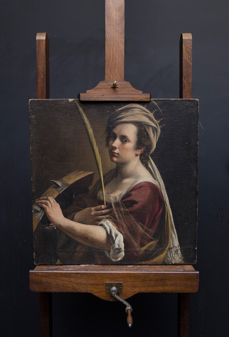 """Artemisia Gentileschi, """"Self-Portrait as Saint Catherine of Alexandria"""" on easel (image courtesy of the National Gallery London)"""