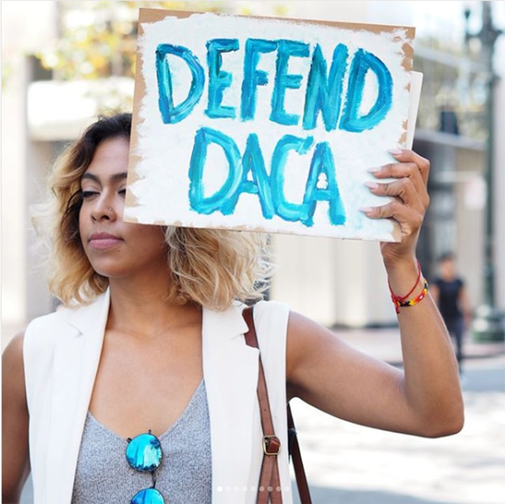 Defend DACA Action, Oscar Grant Plaza (aka Frank Ogawa Plaza), Oakland, 45mm lens (photo by the author for Hyperallergic)