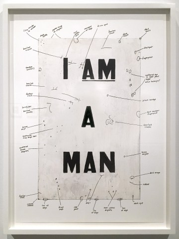 """Glenn Ligon, """"Condition Report,"""" (2000), Iris print, screenprint, 32 x 22.75 inches (only right panel pictured) © Glenn Ligon; Courtesy of the artist, Luhring Augustine, New York, Regen Projects, Los Angeles, and Thomas Dane Gallery, London. Collection of the artist."""