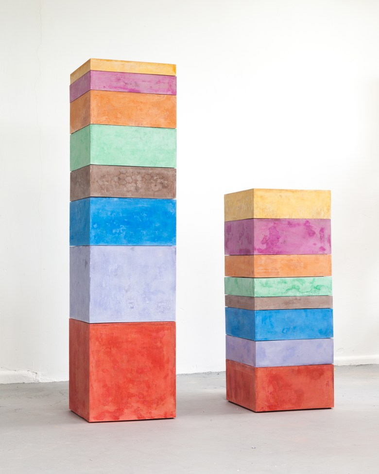 "Liz Glynn, ""Household Activities (Average minutes per day, F/M, 2015)"" (2017), cast pigmented cement, two elements: 16 x 16 x 64 in. / 16 x 16 x 40 in. (image courtesy of Mohn Family Trust)"