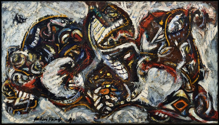 """Jackson Pollock, """"Composition with Masked Forms"""" (1941), oil on canvas, 27 3⁄4 x 49 3⁄4 in. (image courtesy of Colby College Museum of Art)"""