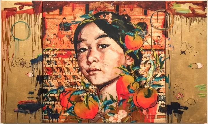 """Hung Liu, """"All the Ancestors"""" (2011), mixed media print, (image courtesy of Trillium Graphics, Brisbane, CA)"""