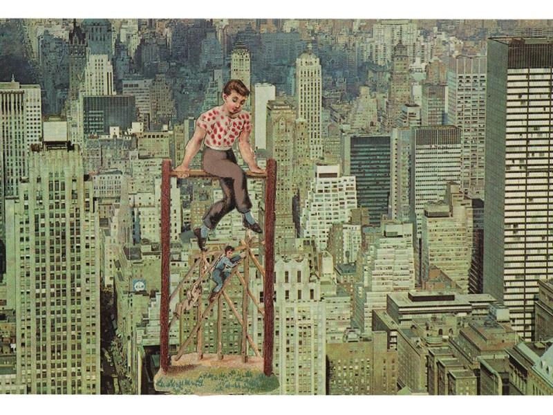 John Ashbery, Acrobats, 1972, collage, 3 ½ x 5 ½ inches. ©Estate of John Ashbery, courtesy Tibor de Nagy Gallery, New York.