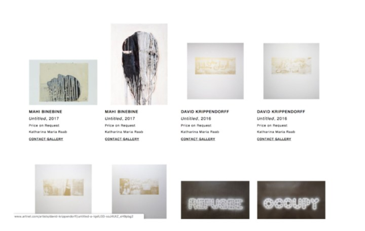 A screenshot from artnet.com, where David Krippendorff's work was put up for sale. The works have since been taken down.