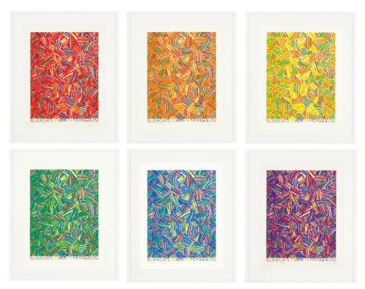 """Jasper Johns, """"Cicada (Ulae 215)"""" (1981), the complete set of six screenprints in colors, images: 447 x 342 mm, 17 5/8 x 13 1/2 inches, sheets approx.: 557 x 460 mm, 21 7/8 x 18 1/8 inches (image courtesy Christie's)"""